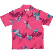 1970年代製 U.S.A. Hawaii  Hilo Hattie ヒロハッティ アロハシャツ トロピカルパターン 色柄:ダークピンク/抽象模様 サイズ:M グレード:A