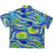 1950年代製 U.S.A. Hawaii  Made in Hawaii アロハシャツ サテン 光沢 色柄:紺青黄緑/抽象模様 サイズ:L グレード:B