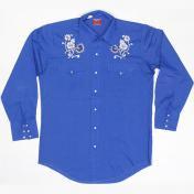 1970's 製 U.S.A. ヴィンテージ Chute #1  ウエスタンシャツ カウボーイシャツ 切替え/花柄刺繍 /ブルー