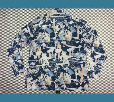 USA. 70年代  J.C Penney 【人 風景柄】 ポリシャツ XL