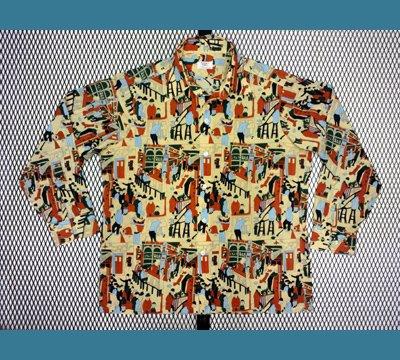USA. 70年代 SERO 【カフェーBAR風景柄】 ポリシャツ XL