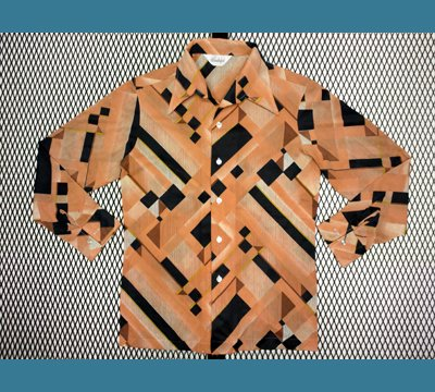USA. 1970年代 Landolph 【幾何学模様柄】 ポリシャツ M
