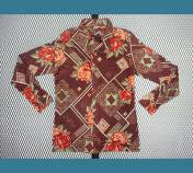 USA. 1970年代 【バラ 花柄】 ポリシャツ ナイロンシャツ M