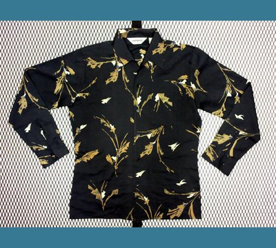 USA. 1970年代 CAMPUS 【黒 花柄】 ポリシャツ M