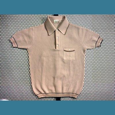 60's~70's ユーロ オールド ポロシャツ / メッシュ【タン / Tan色】size:50