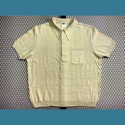 60's~70's ユーロ オールド ポロシャツ / メッシュ【アイボリー色】size:52