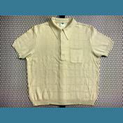 60's〜70's ユーロ オールド ポロシャツ / メッシュ【アイボリー色】size:52