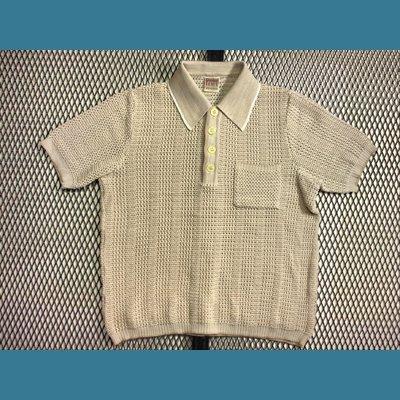 70's~80's ユーロ Diolen LOFT オールド ポロシャツ / メッシュ【クリーム色】:M