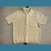 70's〜80's ユーロ Diolen LOFT オールド ポロシャツ / メッシュ【クリーム色】:M