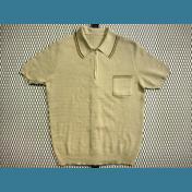 60's ユーロ (英国) 金属ジップ/ビンテージ ポロシャツ メッシュ【抹茶色】size:M