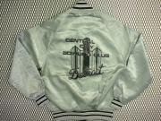 USA. 70's ビンテージ THE GREAT LAKES JACKET ロゴプリント サテンジャケット【色:シルバー】size:M