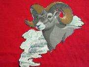 U.S.A. 80's〜90's ジャージーズ 山羊画 布切り抜き貼り スウェットシャツ 赤 XL(18-20)