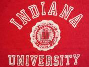 U.S.A. 80's〜90's H.Wolf&Sons インディアナ大学 カレッジ プリント スウェットシャツ レッド L(16)