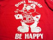 U.S.A. 80's〜90's ヘインズ Don't Worry, Be Happy プリント スウェットシャツ レッド M(10-12)