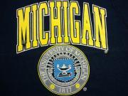 U.S.A. 80's〜90's ミシガン大学 カレッジプリント スウェットシャツ ネイビー M(10-12)