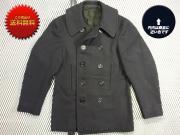 1940's ヴィンテージ U.S. NAVY 10ボタン チンストラップ付 ピーコート NAVAL CLOTHING FACTORY 厚手ウール ラシャ サイズ:S~M