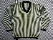 1950's ヴィンテージ U.S.A. Vネック ストライプ柄 ( 黒/ベージュ ) バルキーセーター プルオーバー ( M )