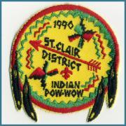 U.S.A. 1990's ビンテージ デッドストック 刺繍 ワッペン Indian Pow wow サイズ:(W)74 ミリ x (H)81 ミリ