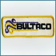 U.S.A. 1970's〜 ヴィンテージ デッドストック 刺繍 ワッペン BULTACO ブルタコ:(W)123ミリ x (H) 50 ミリ