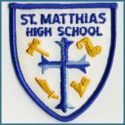 U.S.A. 1970's〜 ヴィンテージ デッドストック 刺繍 ワッペン St. Matthias H.S. (W) 75ミリ x (H) 85 ミリ
