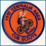 U.S.A. 91's ビンテージ デッドストック 刺繍 ワッペン Bike Rodeo Centralia Area サイズ:(直径)75ミリ