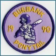 U.S.A. 1990's ビンテージ デッドストック 刺繍 ワッペン BURBANK PONYTAIL   サイズ:( 直径 )75ミリ