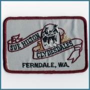 U.S.A. 1970's~ ビンテージ デッドストック 刺繍 ワッペン SUE HILTON CLYDESDALES  (W)110ミリx (H)75ミリ