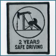 U.S.A. 1970's〜 ビンテージ デッドストック 刺繍 ワッペン SAFE DRIVING 2YEARS (W) 70ミリ x  (H) 85ミリ