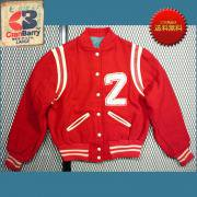 〜1970's ビンテージ U.S.A. Cran Barry スタジャン アワード ジャケット サガラ刺繍 ( 赤 / 乳白 ) S 位