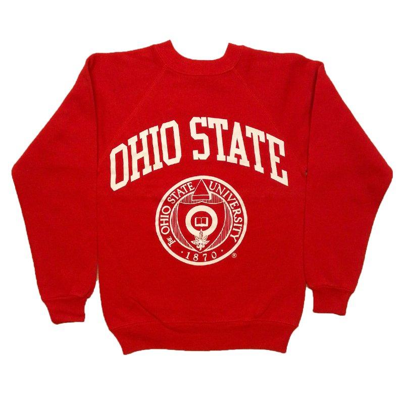 1980年代製 U.S.A. HANES PRINT BOY'S SWEAT SHIRT OHIO STATE ヘインズ プリント スウェットシャツ グレード:A カラー:レッド サイズ(ボーイ…