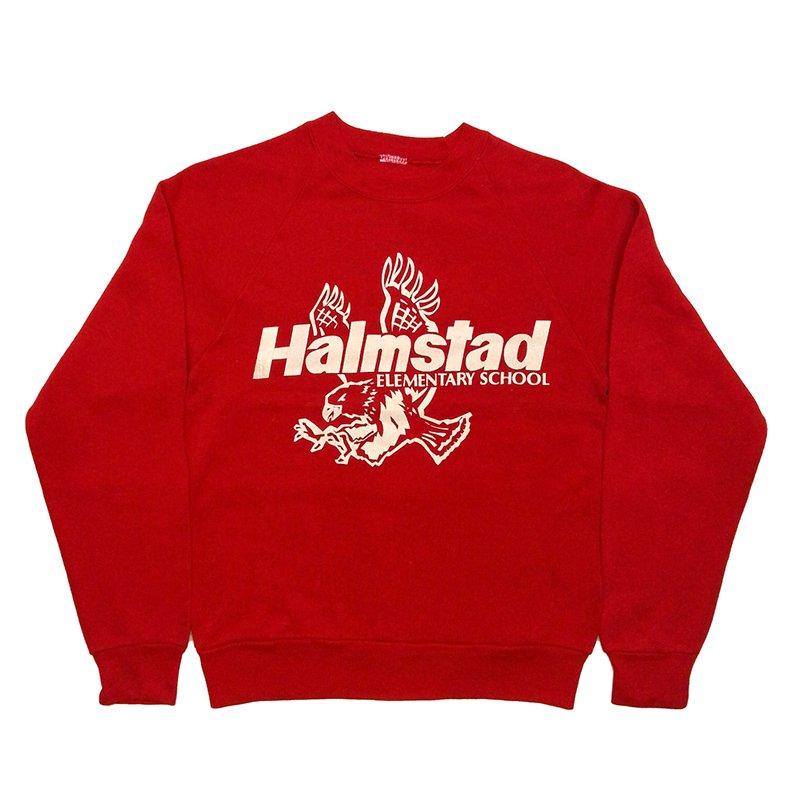 1980年代製 U.S.A. PRINT BOY'S SWEAT SHIRT HALMSTAD ELEMENTARY プリント スウェットシャツ グレード:A カラー:レッド サイズ(ボーイ…