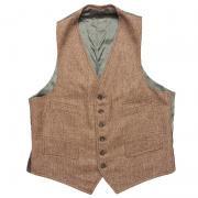 1950 〜 70年代 U.S.A. ヴィンテージ ツイード Wool メンズベスト バックベルト グレード:A〜B 焦茶系