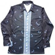 ヴィンテージ 1970年代製 CAREER CLUB アートシャツ イタリアンカラー ポリエステル ディスコ サイズ:M