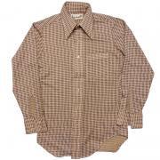 ビンテージ 1970年代製 London Ltd. アートシャツ ポリエステル ディスコシャツ ネイビー / ベージュ S