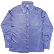 1970年代製 U.S.A. ヴィンテージ LANSEA  ポリエステル ツインボタン シャツ 色:ネイビー / ウーマン L