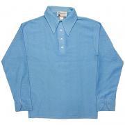 1970年代製 U.S.A. ヴィンテージ HERITAGE ポリエステル メッシュ シャツ プルオーバー 色:ブルー / M