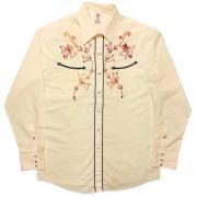 1970's 製 USA. ヴィンテージ ALFIE california ウエスタンシャツ カウボーイ /刺繍 /アイボリー /L