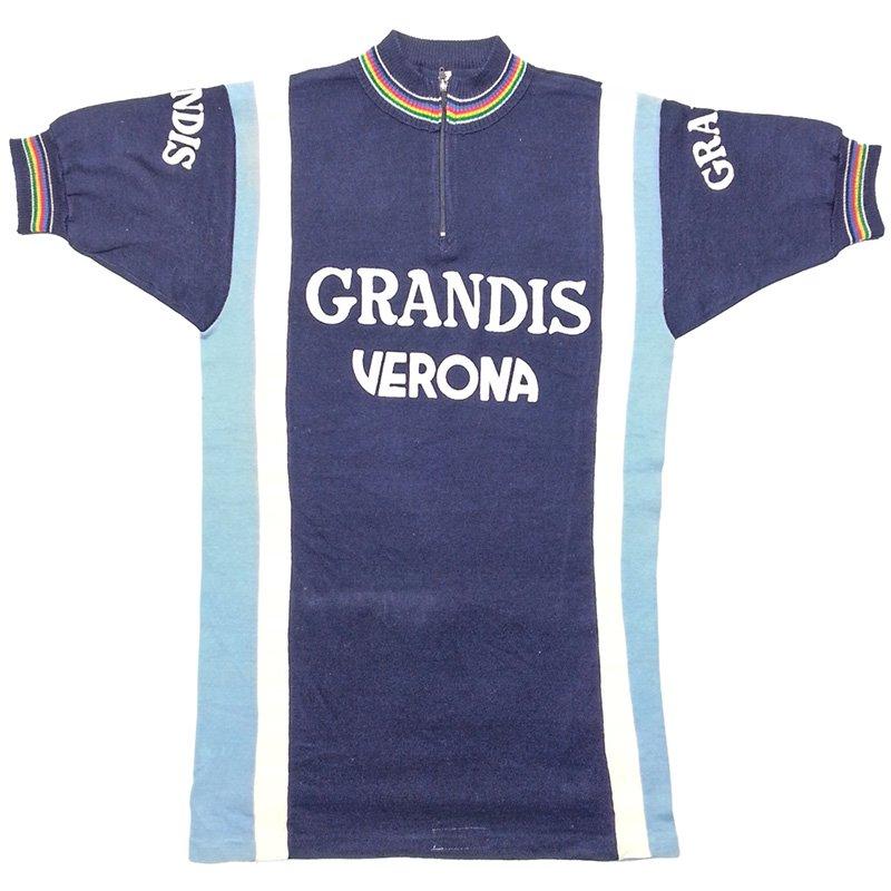 1970s ヴィンテージ イタリア GRANDIS VERONA サイクリングジャージ アクリルニット フロッキープリント M