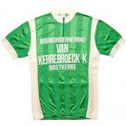 1980's ベルギー製 ヴィンテージ  W.M.S サイクリングジャージ サイクリングウェア フロッキープリント 色:緑/白 サイズ:M