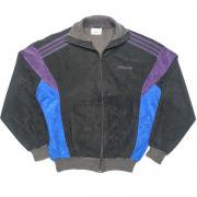 1980's チュニジア製 ヴィンテージ Adidas アディダス ベロア ジャージ トラックジャケット カラー:黒/紫/青 サイズ:M 位
