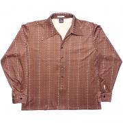 1970's U.S.A. ヴィンテージ PLUMAGE ポリ ディスコ シャツ イタリアンカラー /ブラウン ・ドット柄 /L