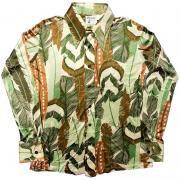 1970's U.S.A. ヴィンテージ Monzini Monticello アセテート ポリシャツ ディスコシャツ /  羽根柄 / L