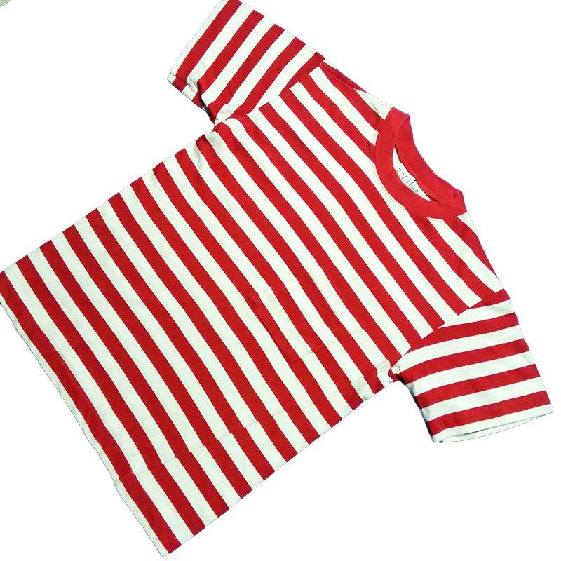 1980's ~ 1990's U.S.A. ボーダー ポケット Tシャツ 半袖 キッズサイズ L ¥499