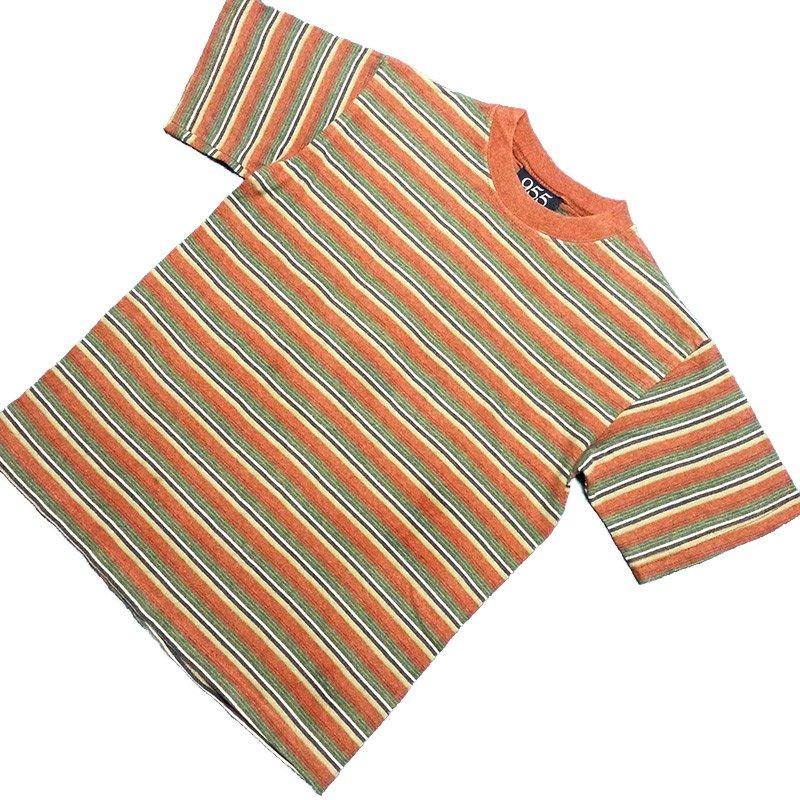 1980's ~ 1990's U.S.A. ボーダー Tシャツ 半袖 コットン キッズサイズ M ¥499