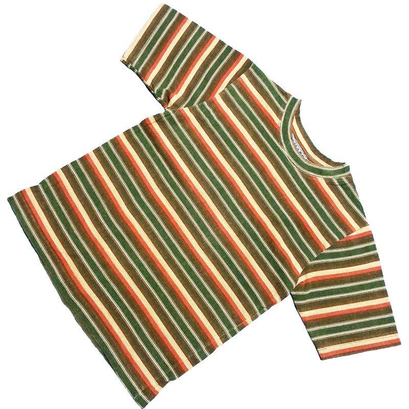 1980's ~ 1990's U.S.A. ボーダー Tシャツ 半袖 キッズサイズ M ( 10 ~ 12 ) ¥499