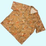 1970's US. ヴィンテージ California Casualaire ポリシャツ ディスコシャツ イタリアンカラー 花柄 1X-BIG