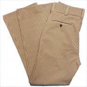 1970年代 USA. 製 CONTUR ポリエステルパンツ 色・柄:ベージュ/ブラウン 系・チェック サイズ:W - 76 cm