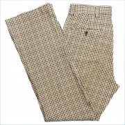 1970年代 USA. 製 ポリエステルパンツ 色・柄:ブラック/ホワイト 系・チェック柄 サイズ:W - 82 cm