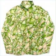 = U.S.A. 1970年代 Kmart Kマート Picture Shirt = レディース 長袖 Acetate/Nylon ピクチュアーシャツ グレード:Aランク カラー:絵柄 サイズ:M