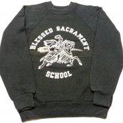 1980年代製 U.S.A. Hanes PRINT SWEAT SHIRT BOYS SIZE プリント スウェット シャツ トレーナー ボーイズ サイズ カラー:ブラック サイズ:10-12